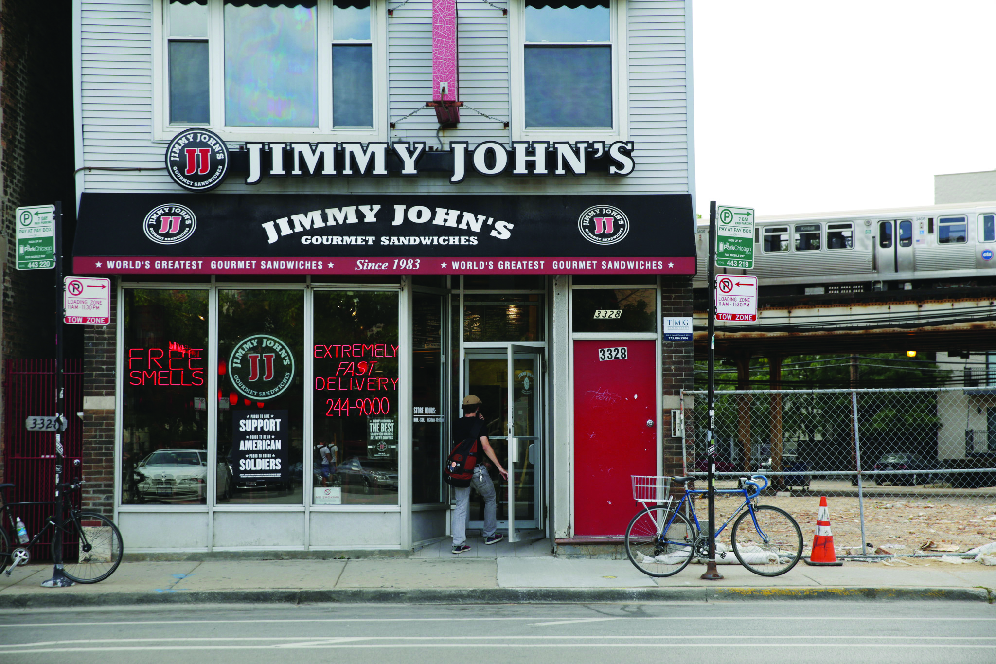 An customer walks into a Jimmy John's located at 3328 North Clark St., Wednesday, Sept. 24, 2014, in Chicago. This location, along with three others in Chicago, is among 216 Jimmy John's that have had a data breach involving credit and debit card information. (Armando L. Sanchez/Chicago Tribune)